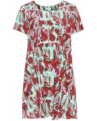 Kenzo Torn Flowers Printed Silk Mini Dress multicolor - Lyst