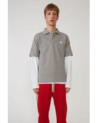 Acne Studios - Polo Shirt light Grey Melange / White - Lyst