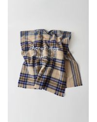 Acne Studios - Cassiar Check Oatmeal Beige / Blue Check Checked Logo Scarf - Lyst
