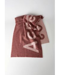 Acne Studios - Logo Scarf dark Pink - Lyst
