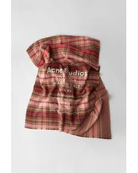 Acne Studios - Cassiar Check Pale Pink / Camel Check Checked Logo Scarf - Lyst