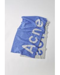 Acne Studios - Logo Scarf royal Blue/white - Lyst