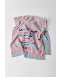 Acne Studios - Checked Logo Scarf mint/salmon - Lyst