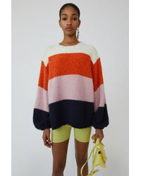 Acne Studios - Wide Striped Sweater coral/navy Multi - Lyst