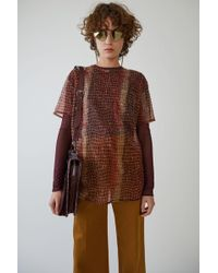 Acne Studios - Mesh T-shirt red / Brown Croco - Lyst
