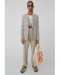 Acne Studios - Plaid Blazer grey/beige - Lyst