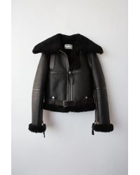 Acne Studios - Fn-wn-leat000028 Black / Black Midsize Shearling Jacket - Lyst