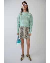 Acne Studios - Printed Mini Skirt ripped Snake Mint / Lilac - Lyst