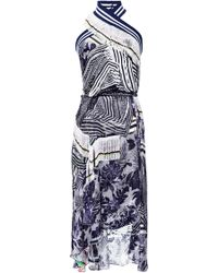 Preen Navy Flower Scarf Printed Satin Ayana Dress - Lyst