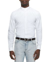 Maison Margiela Banded Collar Poplin Dress Shirt - Lyst