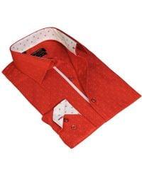 T.R. Premium - Red Long Sleeve Jacquard Printed Dress Shirt - Lyst
