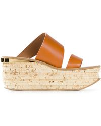 Chloé Double Strap Wedge Sandals - Lyst