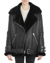 Acne Shearlinglined Leather Velocite Oversized Moto Jacket - Lyst