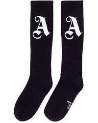 Palm Angels   Logo Intarsia Cotton Blend Socks   Lyst