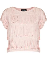 Topshop Fringe Sleeveless Top - Lyst