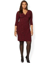 Lauren by Ralph Lauren Plus Size Geo-print Faux-wrap Dress - Lyst