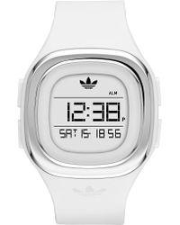 adidas Originals - Denver Digital White Silicone Strap Watch - Lyst
