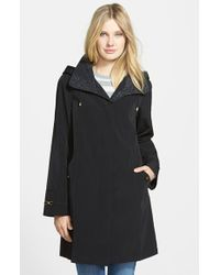 Gallery Leopard Embossed Collar A-Line Raincoat With Detachable Hood - Lyst