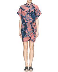 IRO Tie Dye Side Ruche Shirt Dress - Lyst