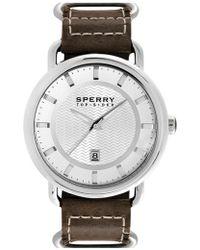 Sperry Top-Sider   'striper' Round Leather Strap Watch   Lyst