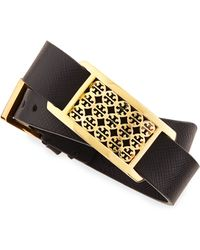 Tory Burch Kinsley Doublewrap Leather Bracelet - Lyst