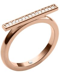 Michael Kors Rose Gold Tone  Crystal Bar Ring - Lyst