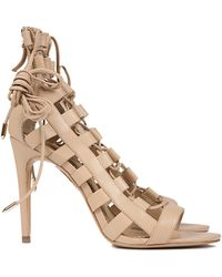 Aquazzura Amazon Calf Leather Laceup Heels - Lyst
