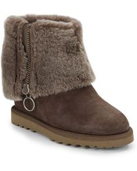 Ash Shearling-trimmed Cuff Wedge Ankle Boots - Lyst