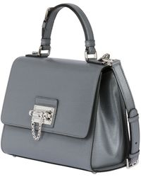 Prada Clay Leather Zipper Top Handle Bag In Gray Clay Lyst