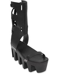 Rick Owens 90Mm Clog Leather Wedge Sandals - Lyst
