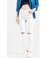 Topshop Moto 'Jamie' Busted Skinny Jeans white - Lyst