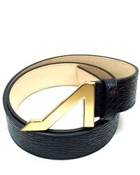 Apolinar | Black Tread Wear Leather Embossed Belt Goldbuckle | Lyst