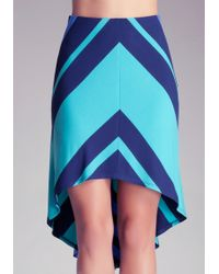 Bebe Stripe Mitered High Low Skirt - Lyst