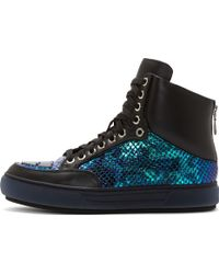 Alejandro Ingelmo Black and Iridescent Leather Jeddi High Top Sneakers - Lyst