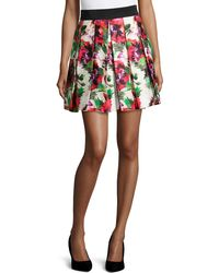 Milly Floral-Print Pleated Skirt - Lyst