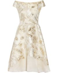Lela Rose Metallic Fil Coupã© Dress beige - Lyst