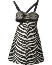 Emanuel Ungaro Zebra Print Strap Dress - Lyst