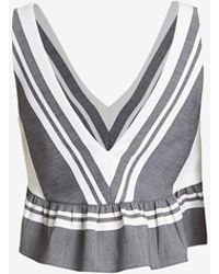 Elizabeth And James Analinne Striped Ruffle Top gray - Lyst