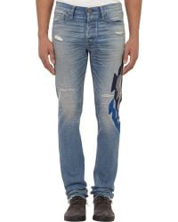 Bliss and Mischief - Ozzy Distressed & Embroidered Jeans-Blue Size - Lyst