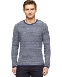 Calvin Klein Cotton Marled Brioche Stitched Crew-neck Sweater - Lyst