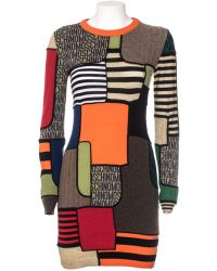 Moschino Dress Virgin Wool Tight Print Multicolor Patchwork multicolor - Lyst