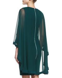 Elie Saab Sheath Dress with Sheer Cape - Lyst