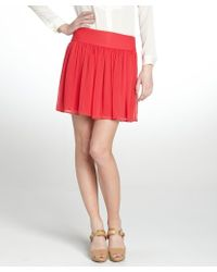 Alice + Olivia Red Raspberry Pleated Chiffon 'Carly' Mini Skirt - Lyst