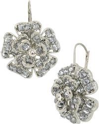 Betsey Johnson Crystallized Flower Drop Earrings - Lyst