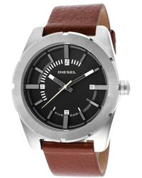 Diesel Mens Good Company Brown Leather Black Dial - Lyst