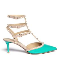 Valentino Rockstud Caged Patent Leather Pumps - Lyst