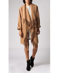 JOA Cascade Fringe Coat brown - Lyst