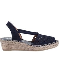 Andre Assous Connie Wedge Espadrille Navy Suede - Lyst