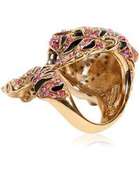 Roberto Cavalli Pink Swarovski Tigre Ring - Lyst
