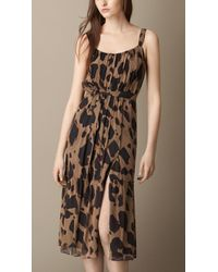 Burberry Animal Print Silk Dress animal - Lyst